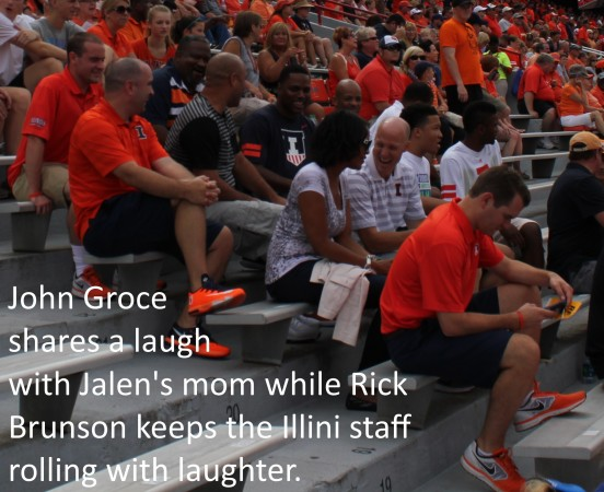 Jalen Brunson family laughs with Illini coaches