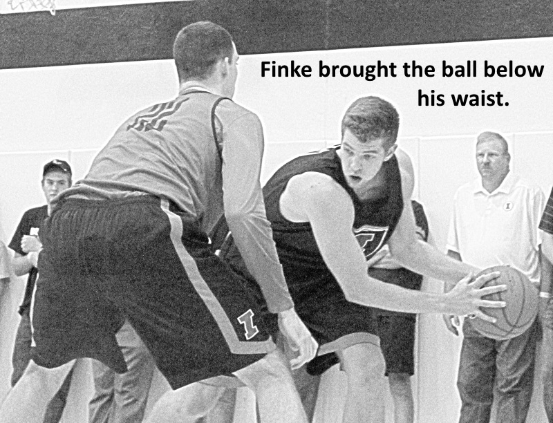 Finke brought the ball below his waist