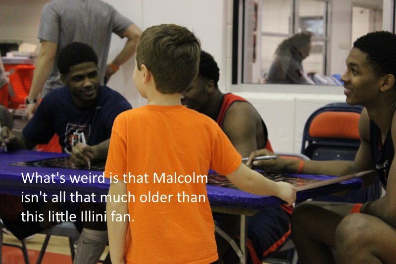 Malcolm Hill autograph for little Illini fan