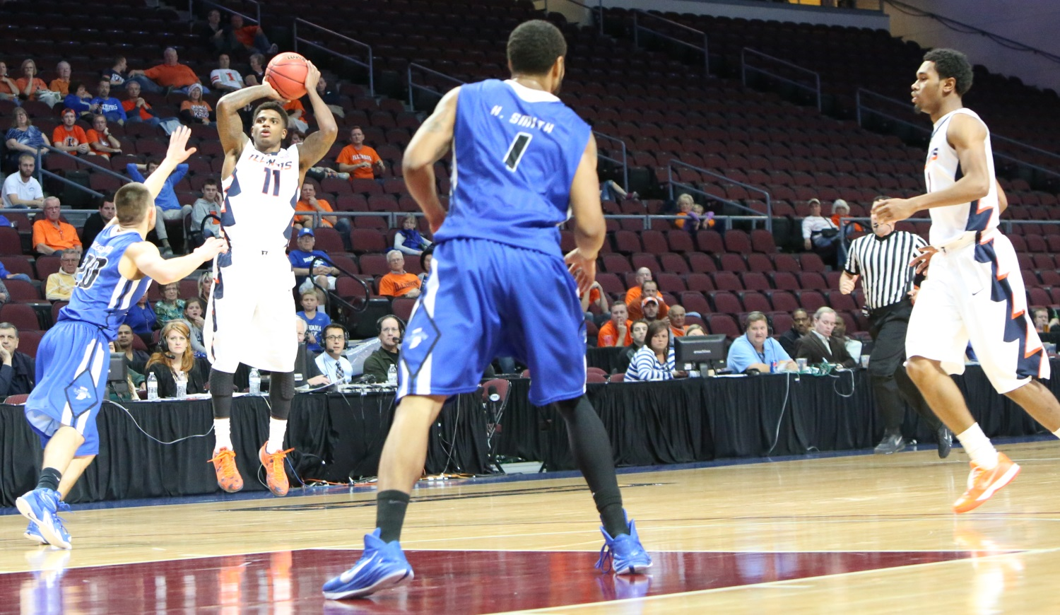 Aaron Cosby for three versus Indiana State