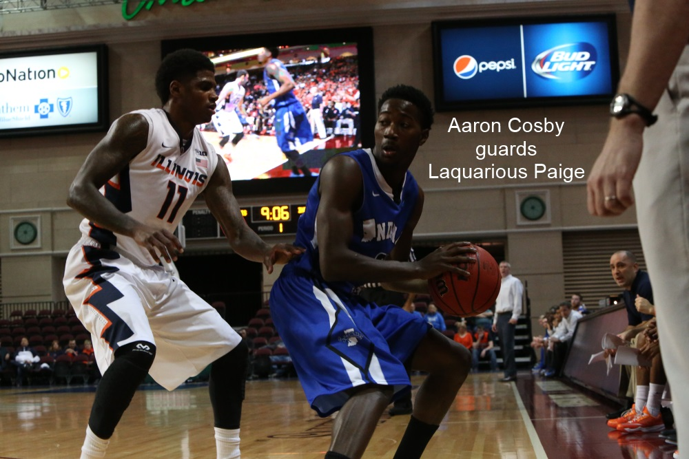 Aaron Cosby guards Laquarious Paige