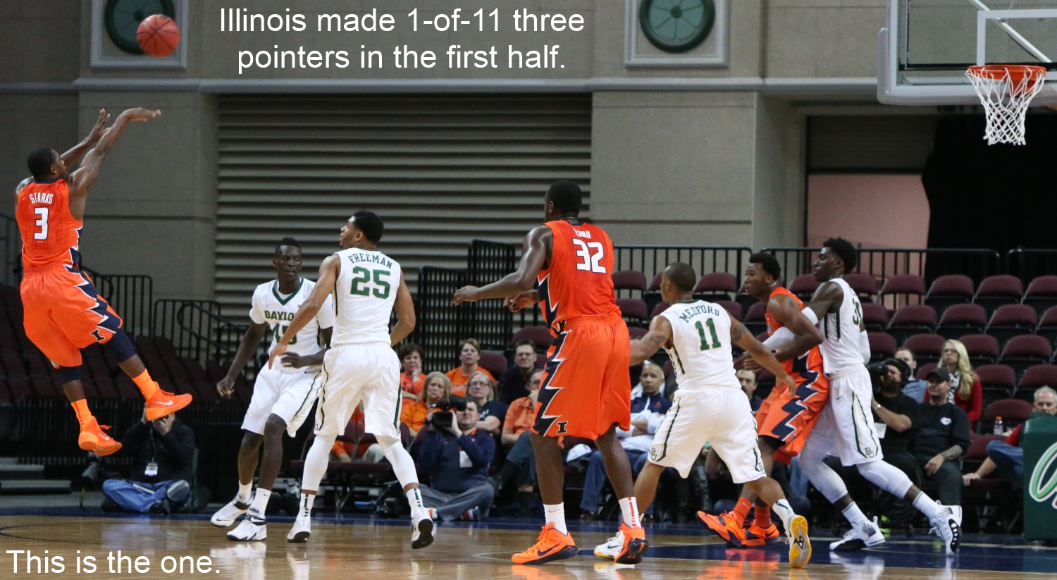 Illinois 1 for 11 one threes