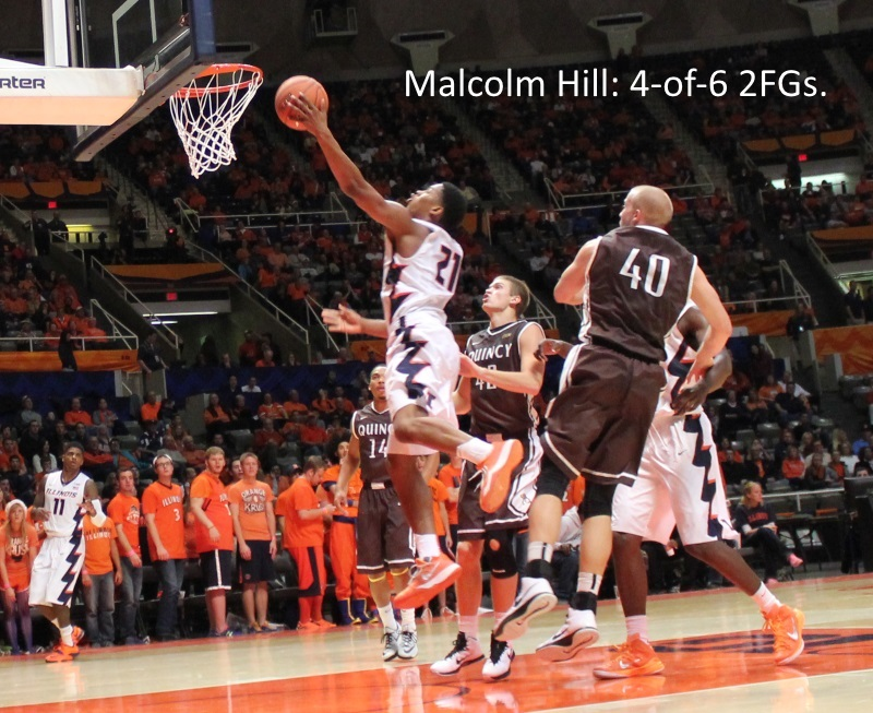 Malcolm Hill goes for a layup against Quincy