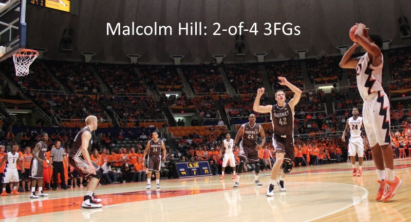 Malcolm Hill shoots versus Quincy