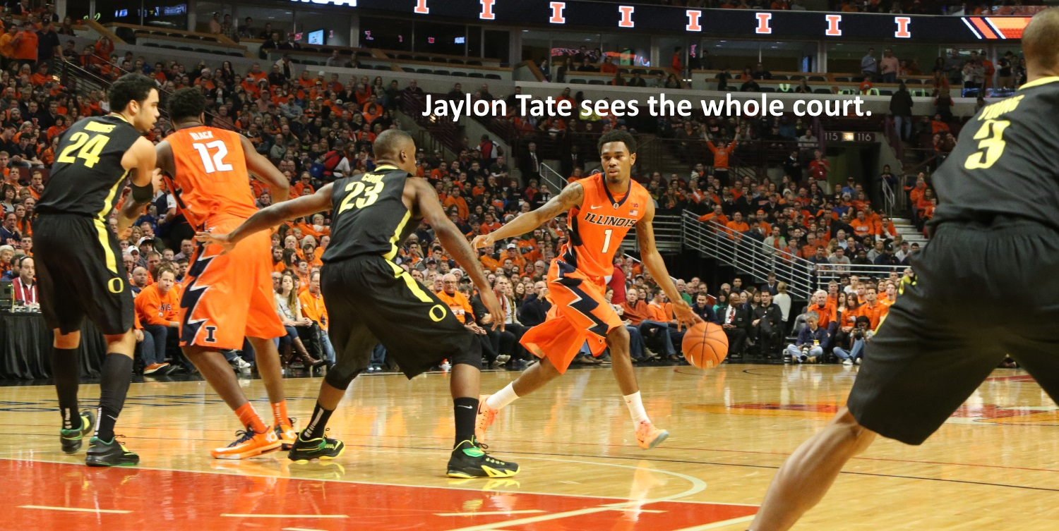 Jaylon Tate sees the whole court
