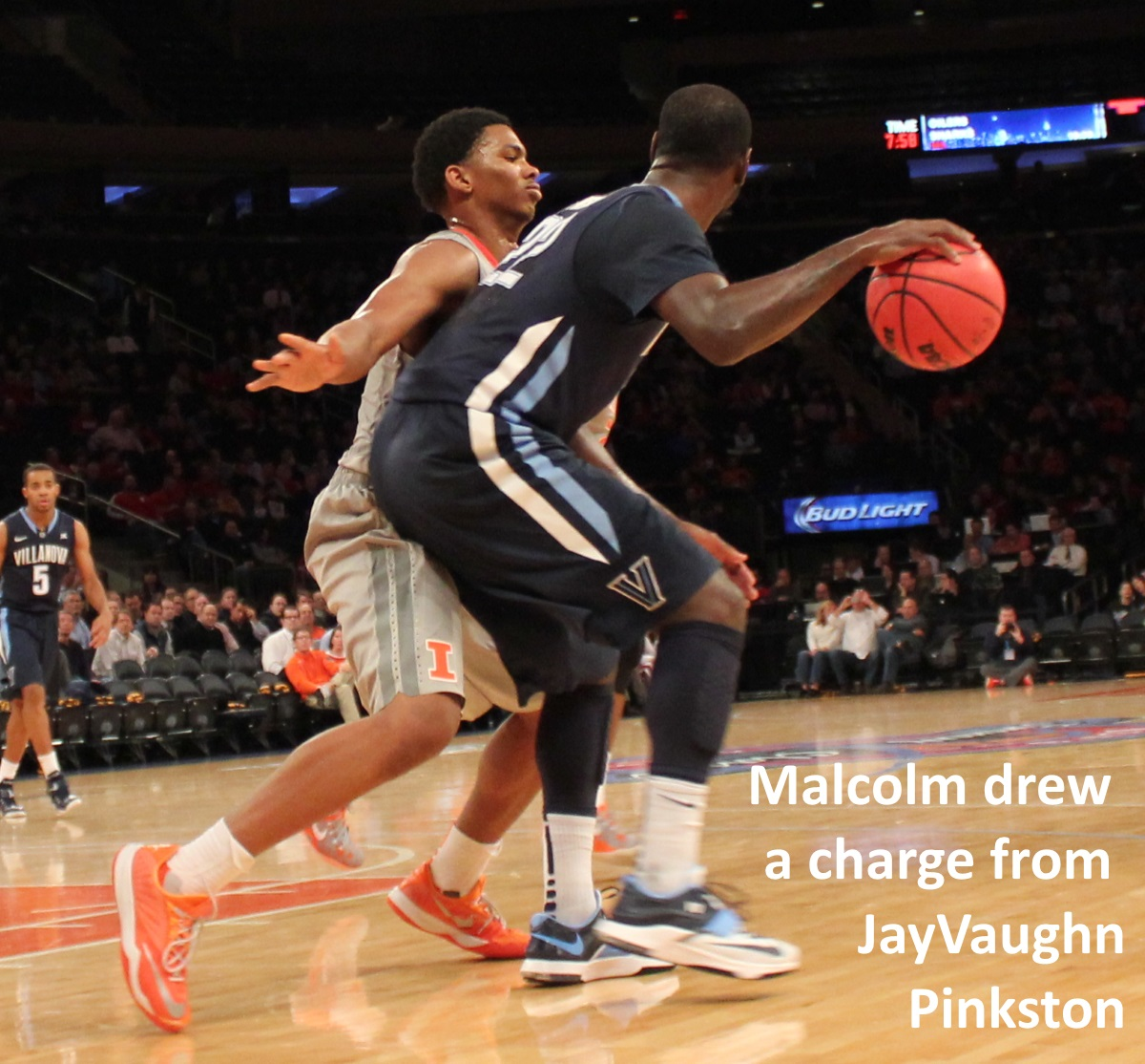 Malcolm Hill drew a charge from JayVaughn Pinkston