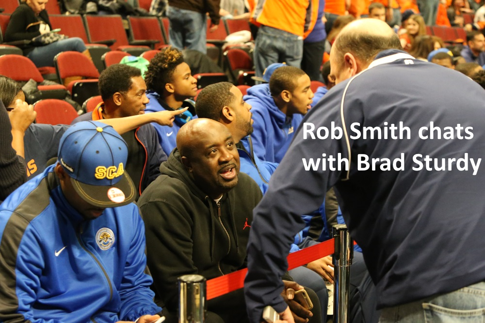 Simeon coach Rob Smith cchats with Rivals Brad Sturdy