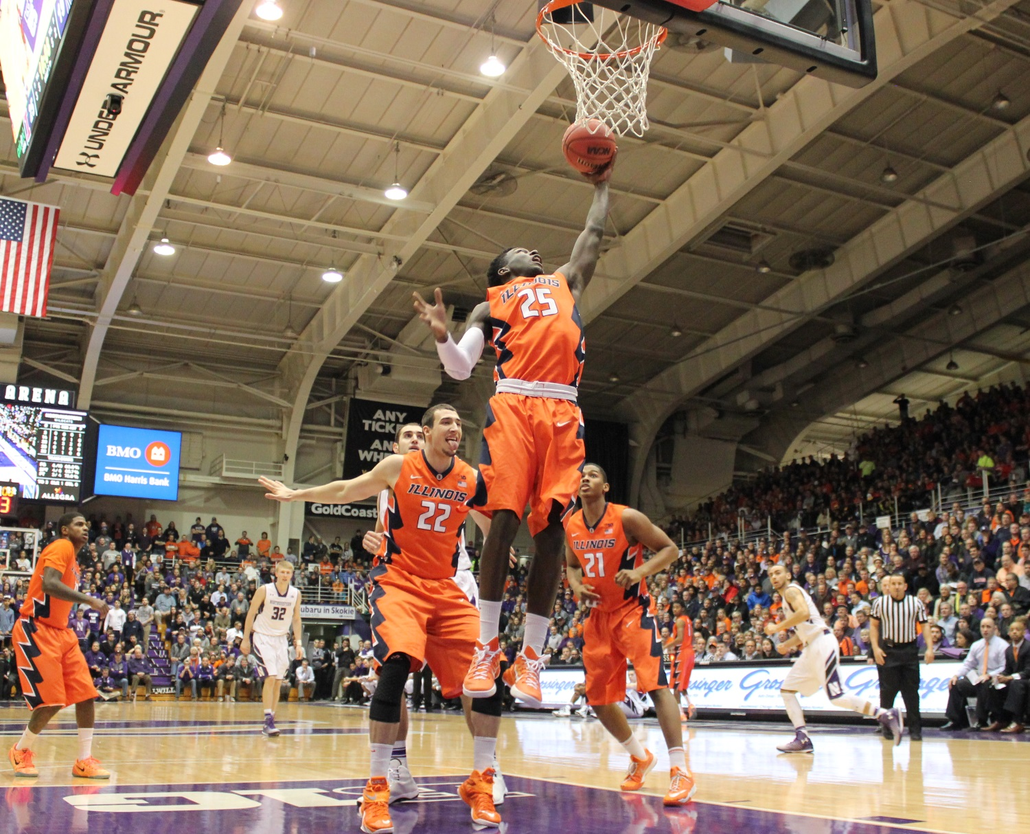 Kendrick Nunn spears a rebound against Northwestern in Evanston