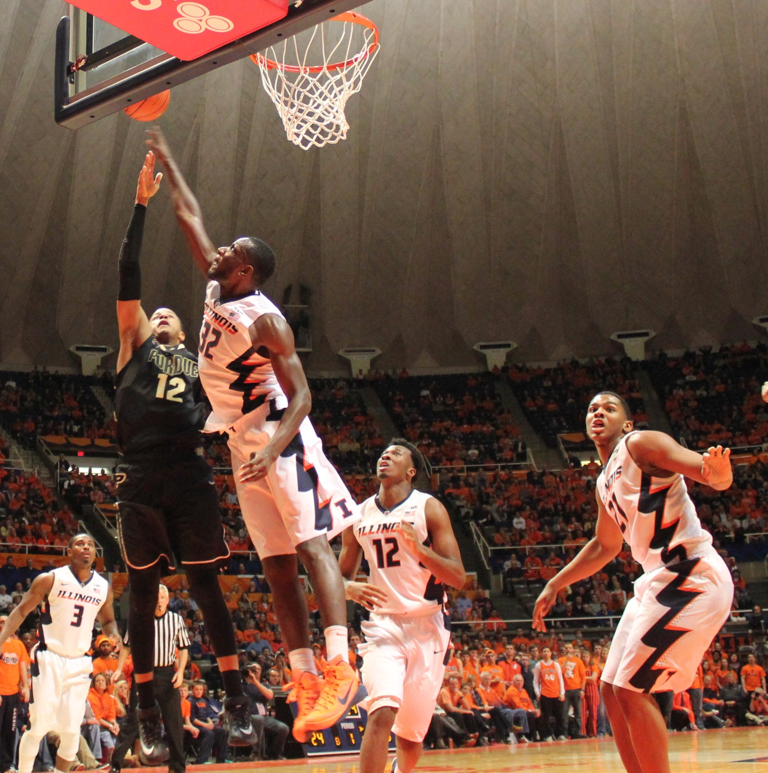 Leron Black (12) saw Nnanna Egwu set the Illini career-high for blocked shots (179) Wednesday against Purdue