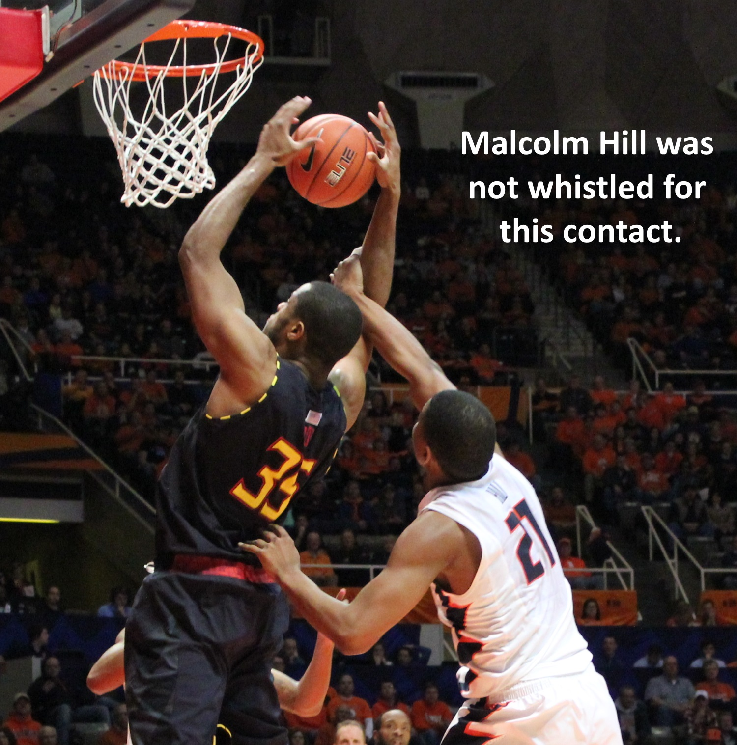 Malcolm Hill was not whistled for this contact