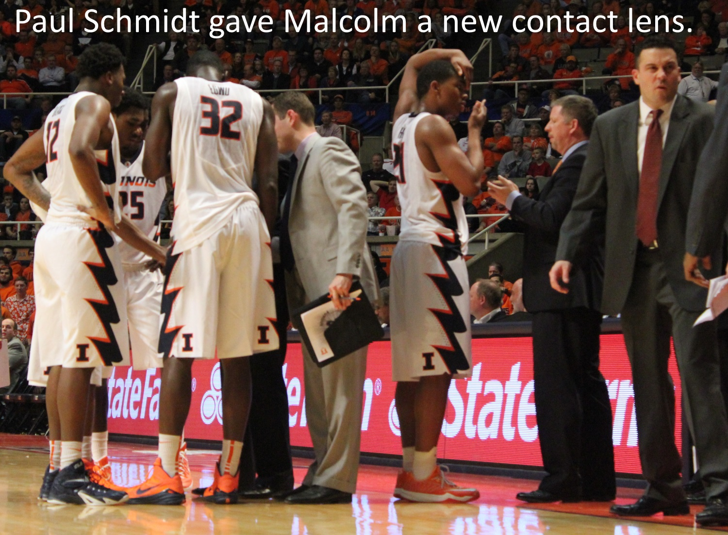 Paul Schmidt gave Malcolm Hill a new contact lens