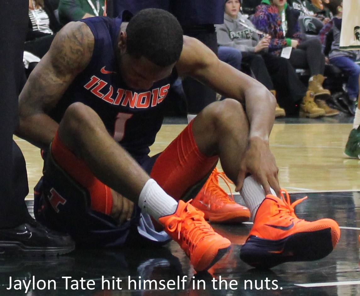 Jaylon Tate hit himself in the nuts