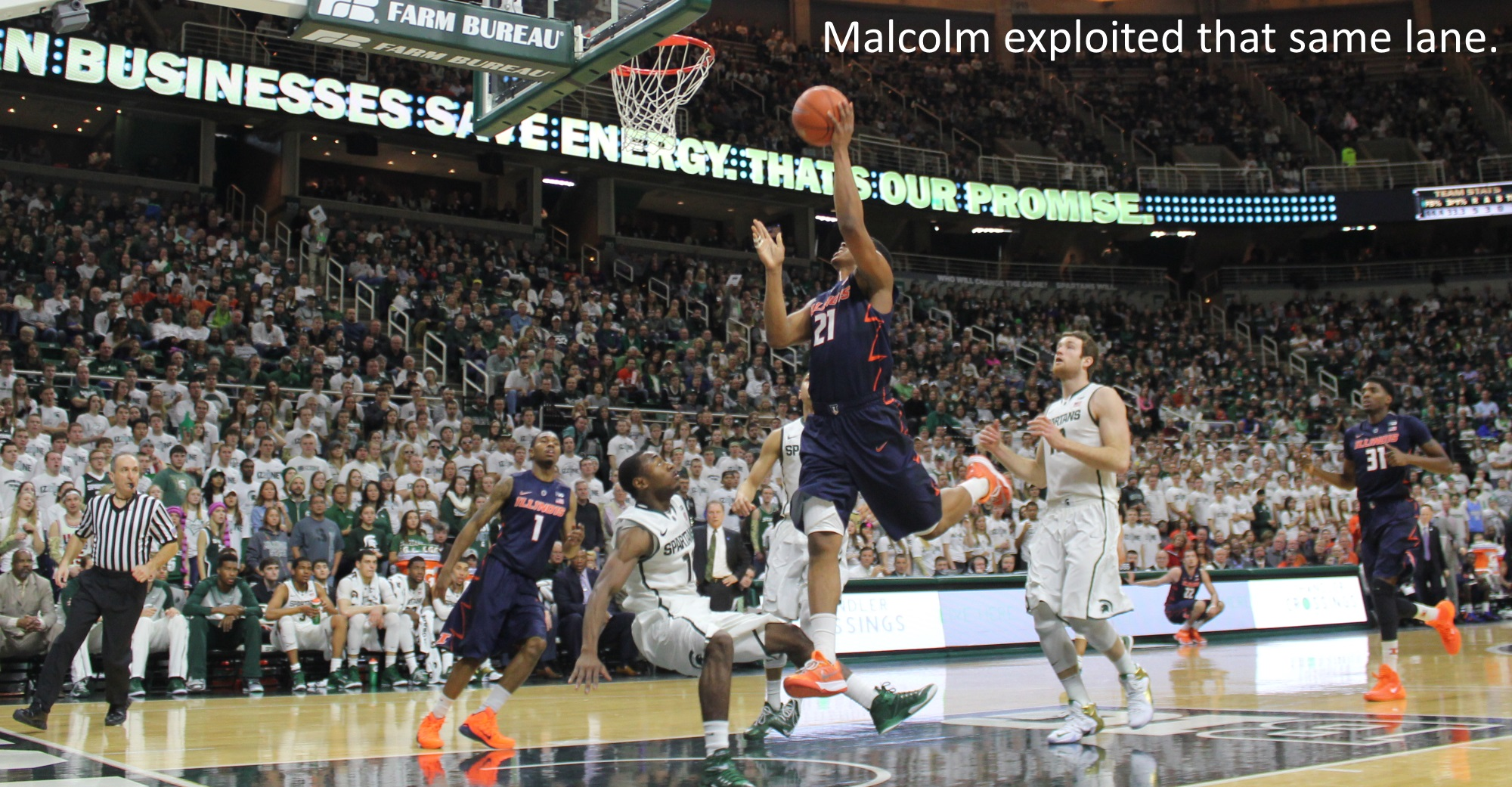 malcolm hill exploited that same lane