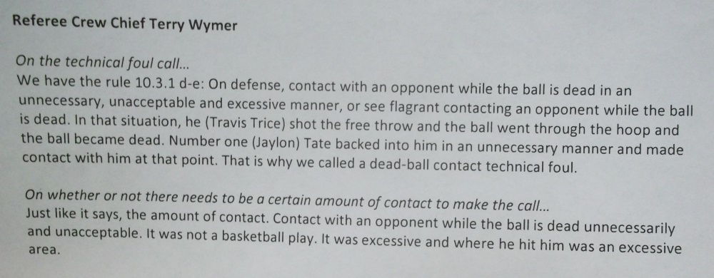 referee statement from Terry Wymer