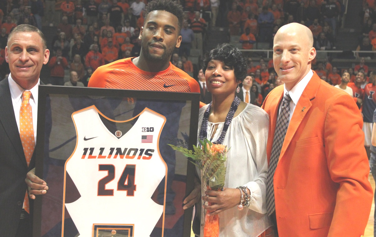 AD Mike Thomas, Rayvonte Rice, Rhonda Rice and JOhn Groce on Senior Night