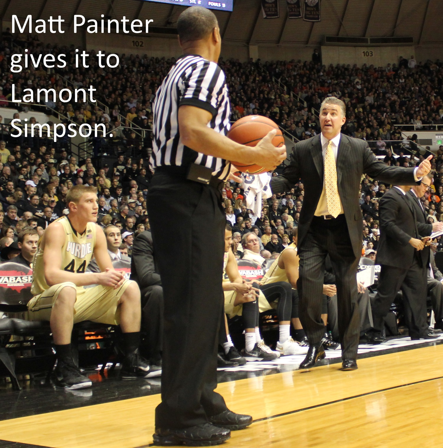 Matt Painter gives it to Lamont Simpson