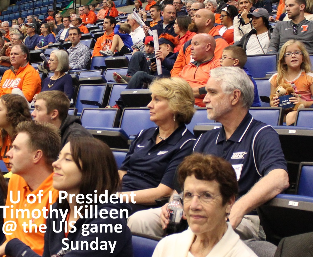 University president Timothy Killen wore a 'Prairie Stars' jersey to the UIUC Illini v UIS Prairie Stars basketball game in Springfield