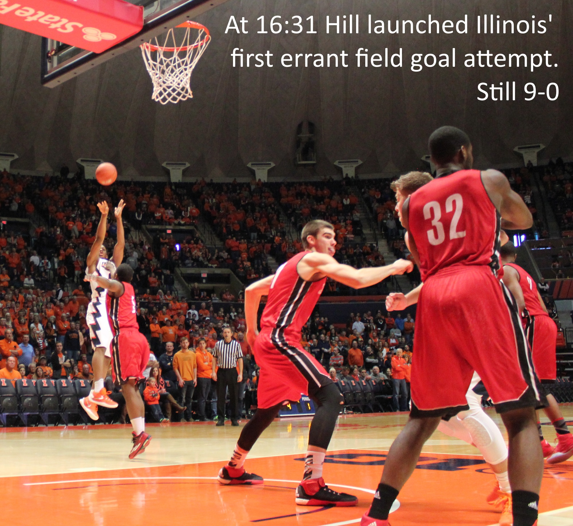 At 16-31 Hill launched Illinois' first errant field goal attempt - still 9-0