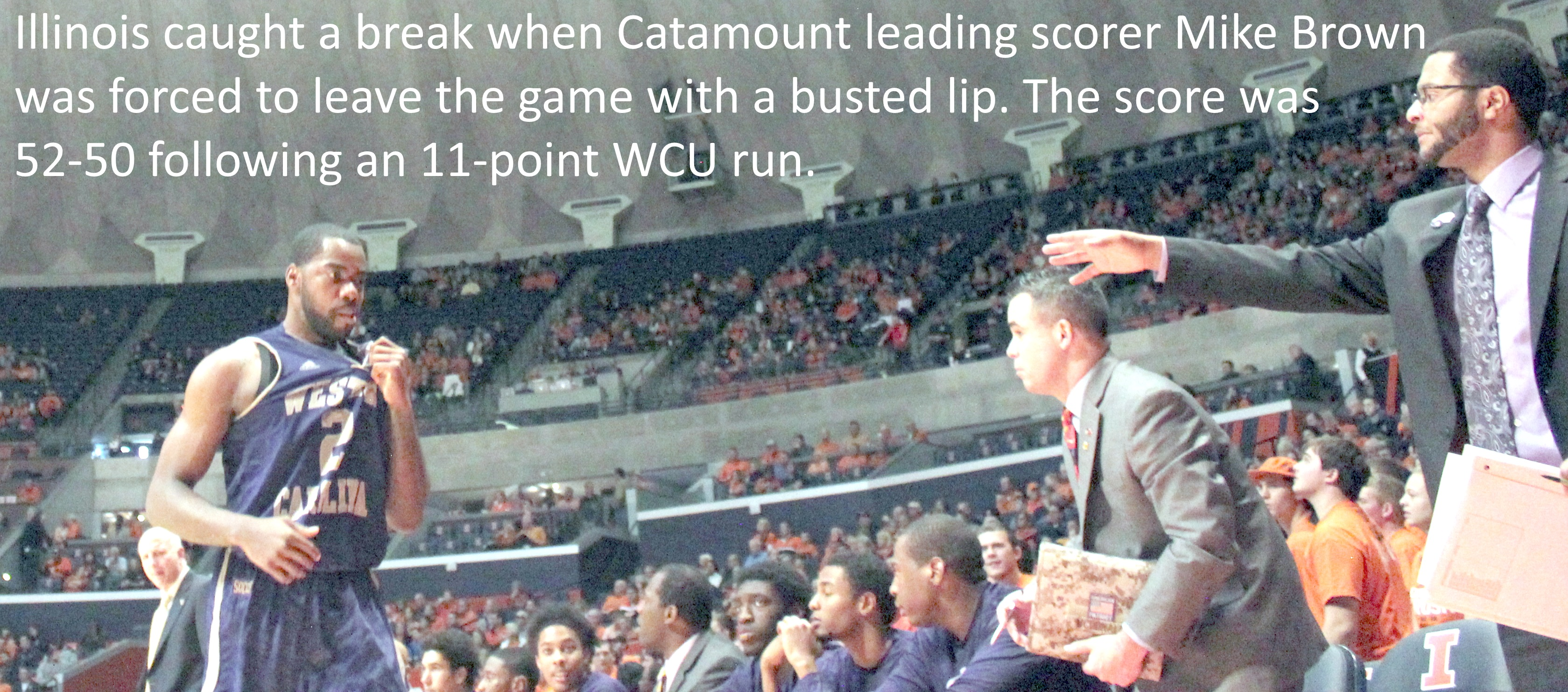 Catamount Mike Brown busted lip
