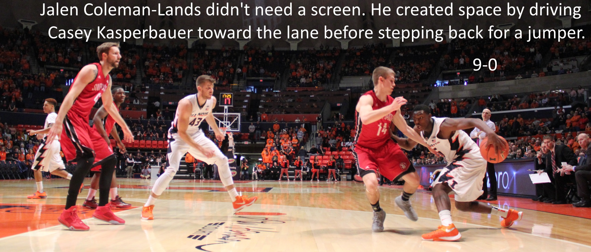 Jalen Coleman-LAnds did not need a screen. He created space by driving Casey Kasperbauer toward the lane before stepping back for a jumper 9-0