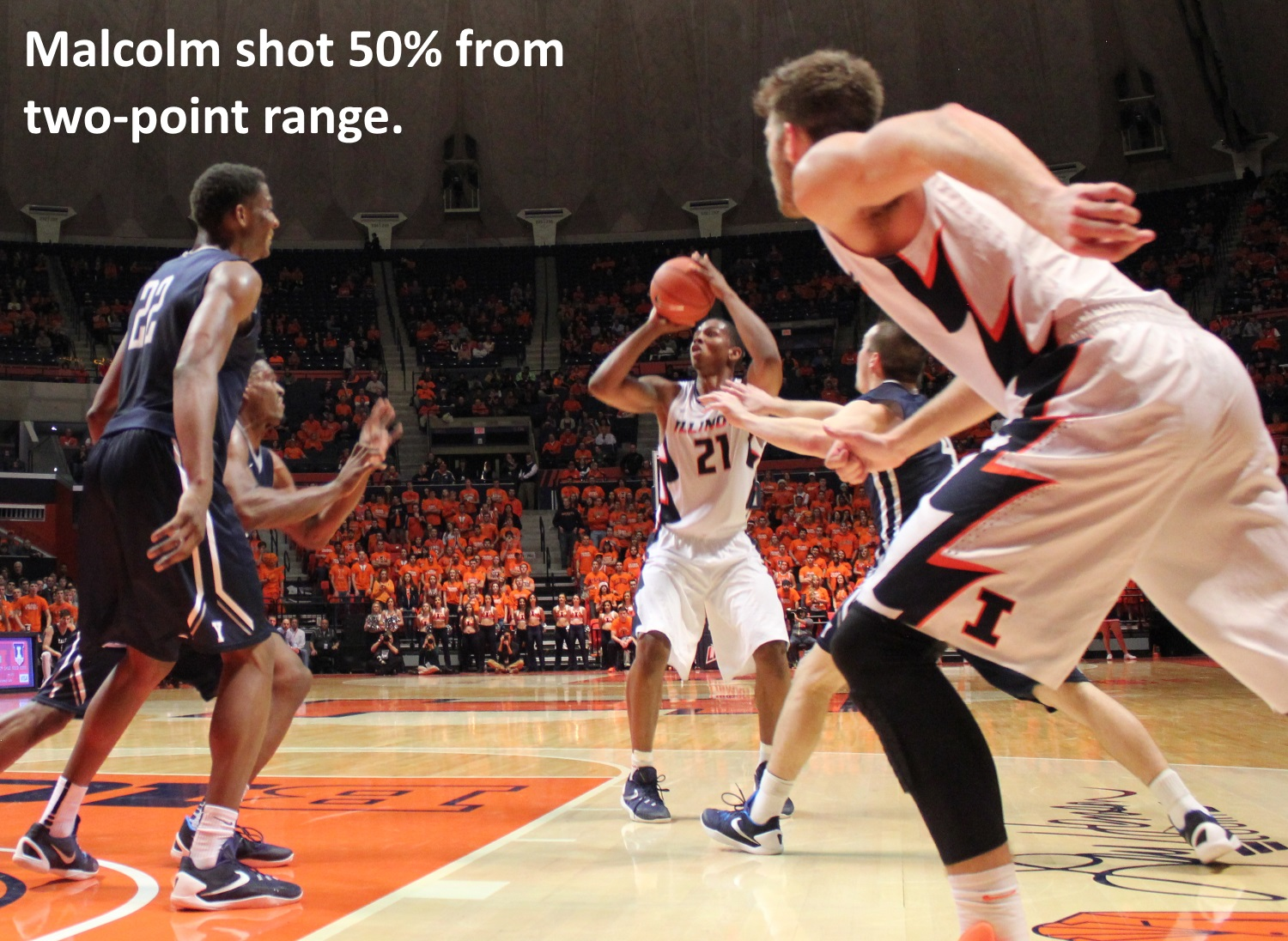 Malcolm shot 50-percent from two-point range
