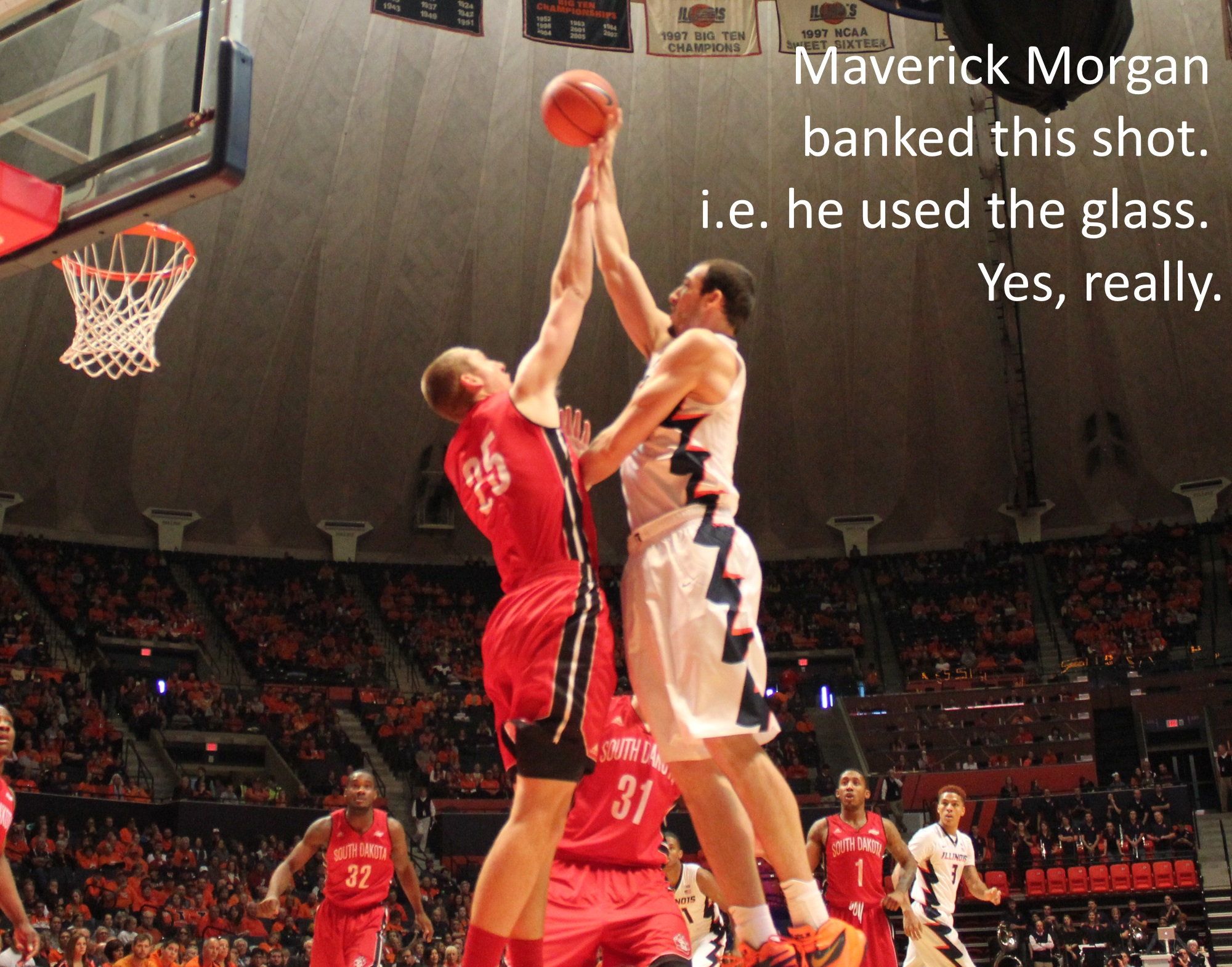 Maverick Morgan banked this shot. i.e. he used the glass. Yes, really