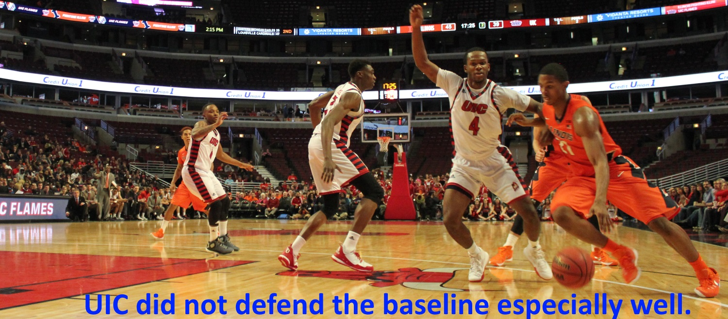 UIC did not defend the baseline especially well