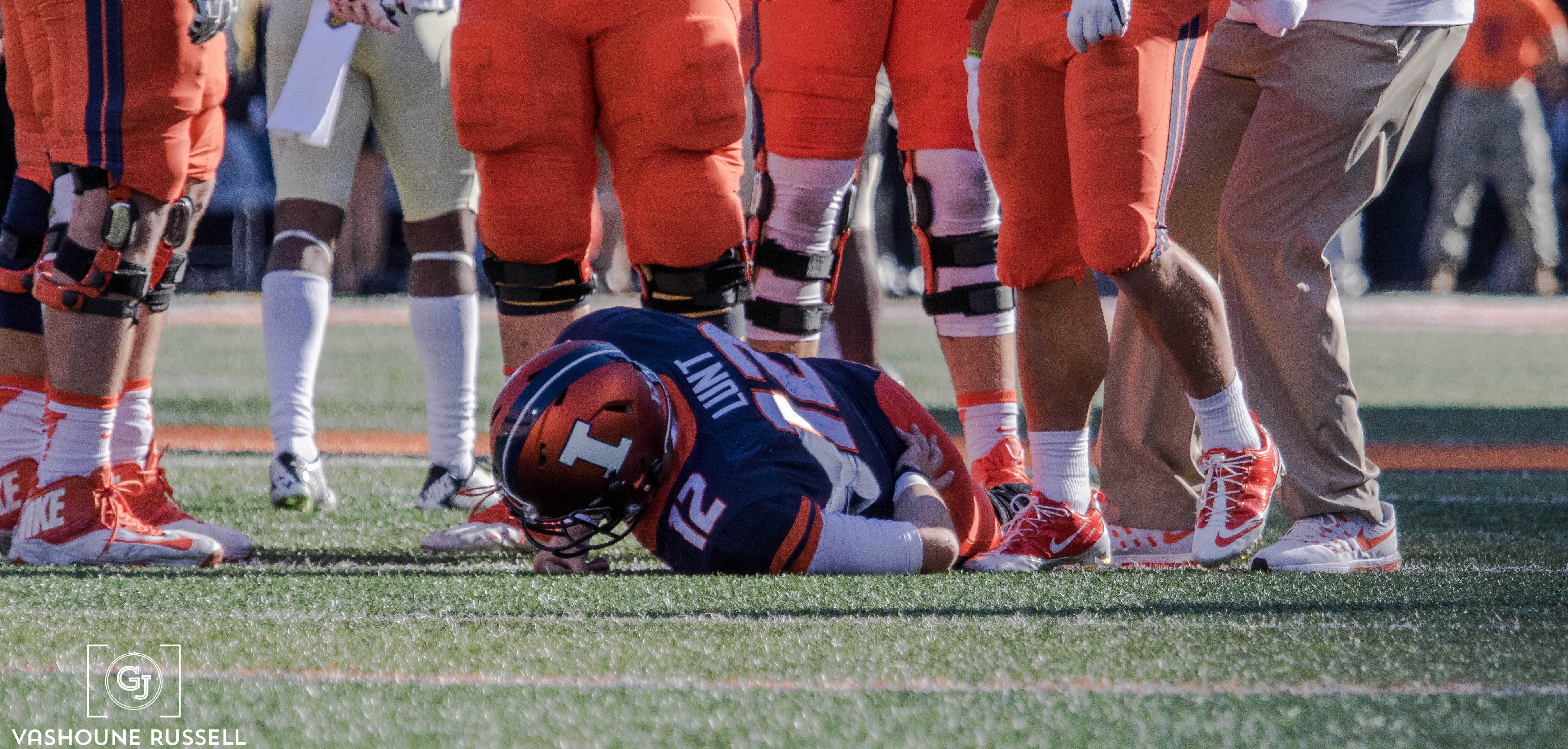 Wes Lunt crumpled into a dormant pile